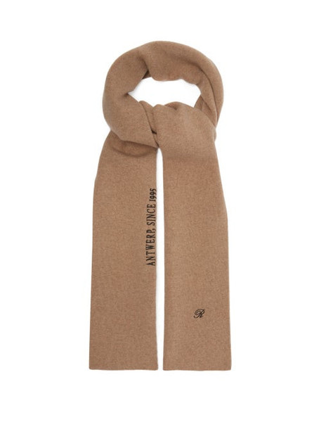 Raf Simons - Logo And Text Embroidered Wool Blend Scarf - Womens - Camel