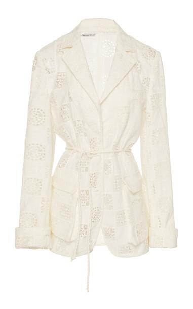 Oscar de la Renta Broderie Anglaise Blazer Size: 6 in white