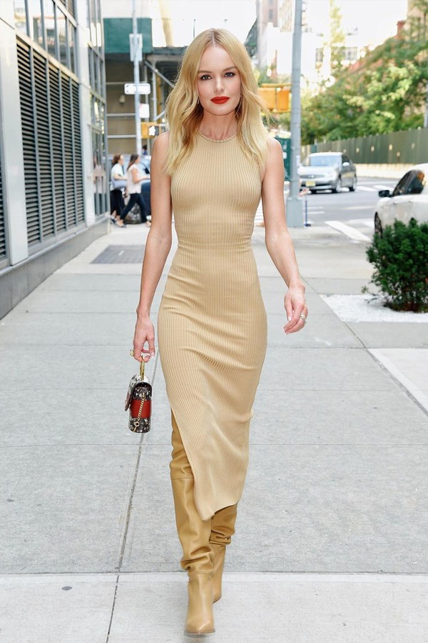 dress nude nude dress slit dress kate bosworth celebrity boots tank top fashion week