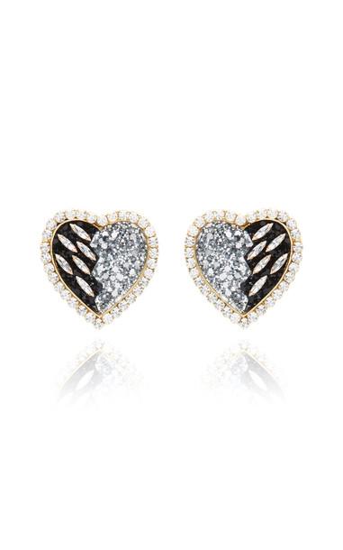 Shourouk Glittered-Resin Crystal Clip Earrings in black