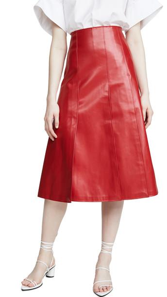A.W.A.K.E MODE Faux Leather Multi Panel Skirt