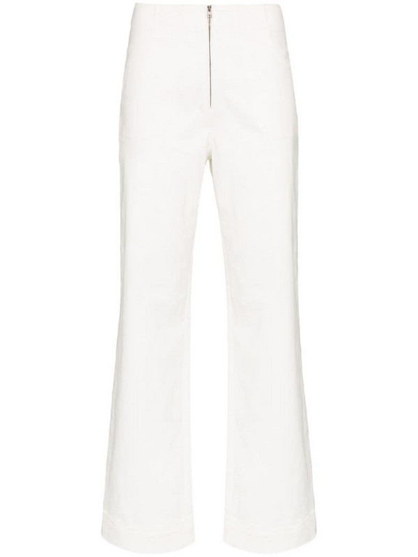 USISI SISTER Isabella high-rise flared trousers in white