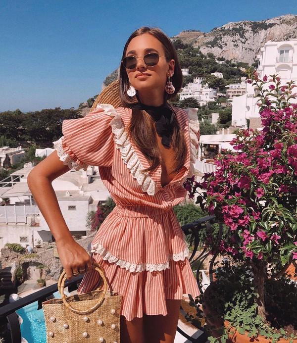 dress striped dress mini dress short sleeve dress handbag ruffle dress