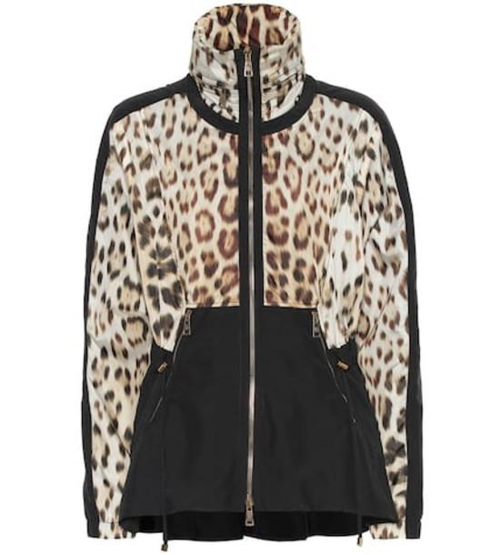 Roberto Cavalli Leopard-print track jacket in brown
