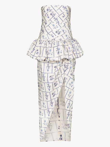 Khaite gwen floral print strapless midi dress