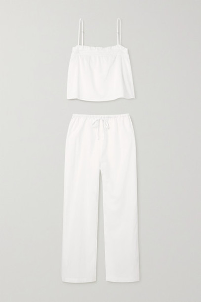 Reformation - Tanager Organic Cotton Cropped Camisole And Pants Set - White
