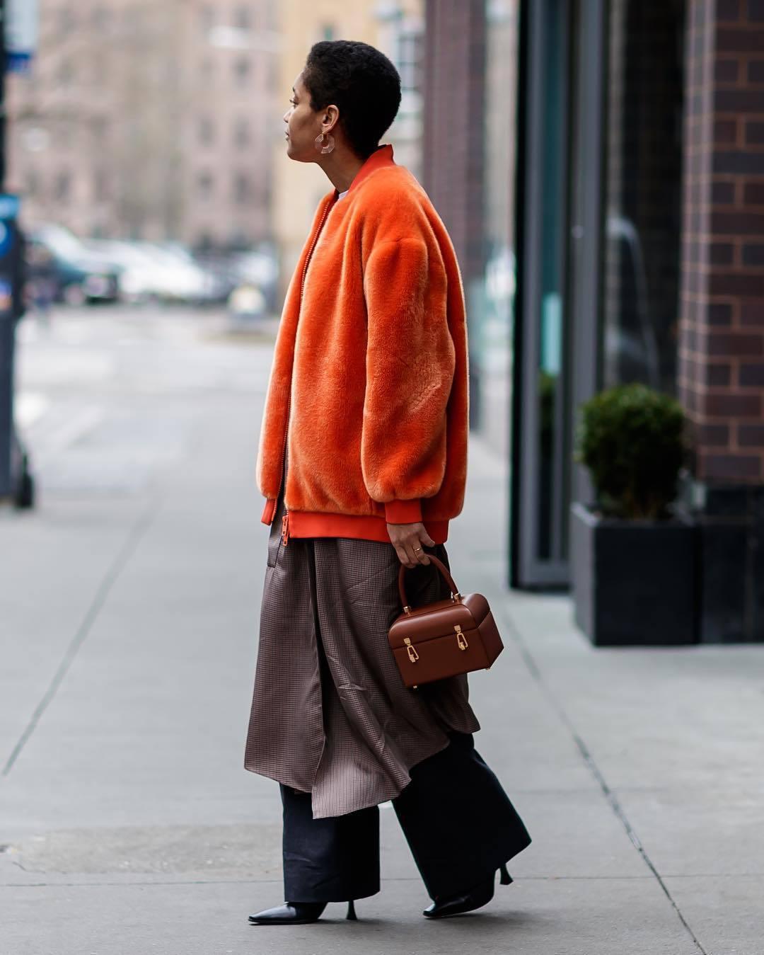 jacket orange jackt faux fur jacket wide-leg pants black pants black boots heel boots kimono handbag brown bag boxed bag