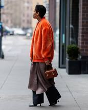 jacket,orange jackt,faux fur jacket,wide-leg pants,black pants,black boots,heel boots,kimono,handbag,brown bag,boxed bag