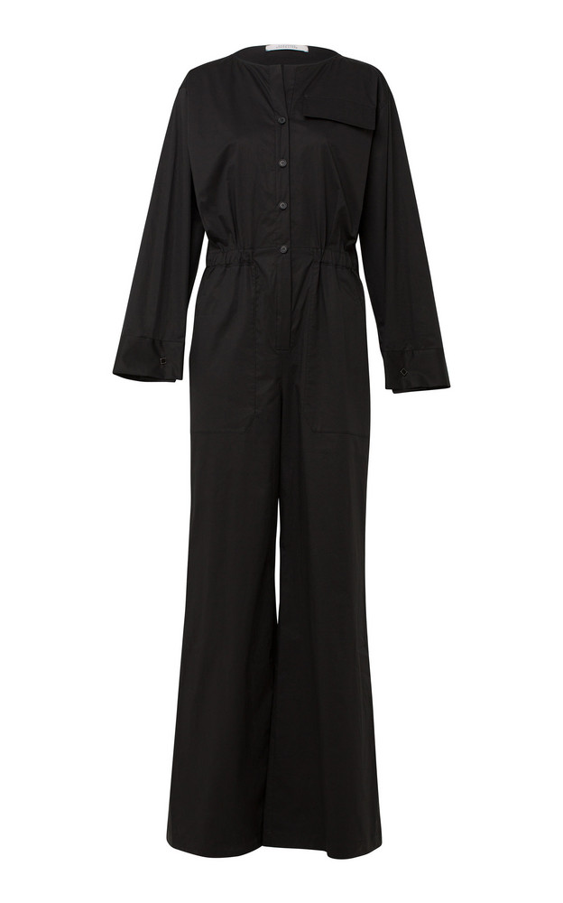 Dorothee Schumacher Effortless Modernity Wide-Leg Cotton-Blend Jumpsuit in black