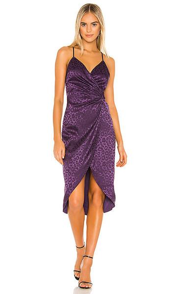 J.O.A. J.O.A. Tulip Hem Midi Dress in Purple