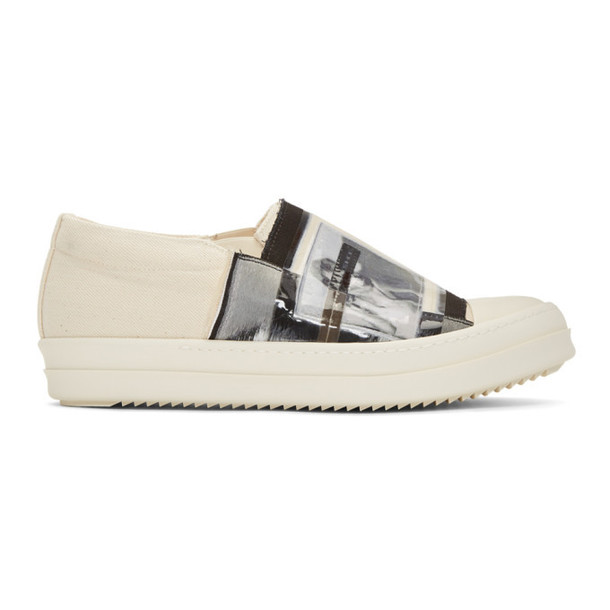 Rick Owens Drkshdw Off-White Patch Feature Boat Sneakers