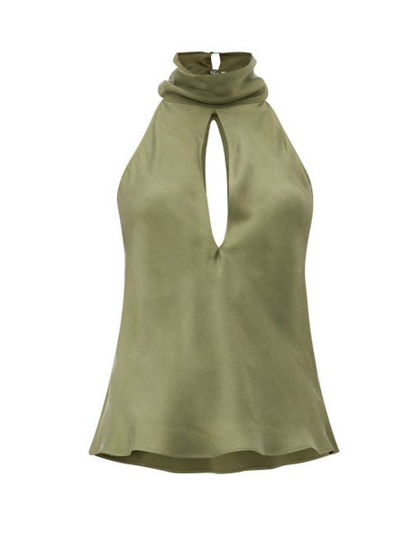 Worme - The High Neck Sandwashed-silk Halterneck Blouse - Womens - Khaki