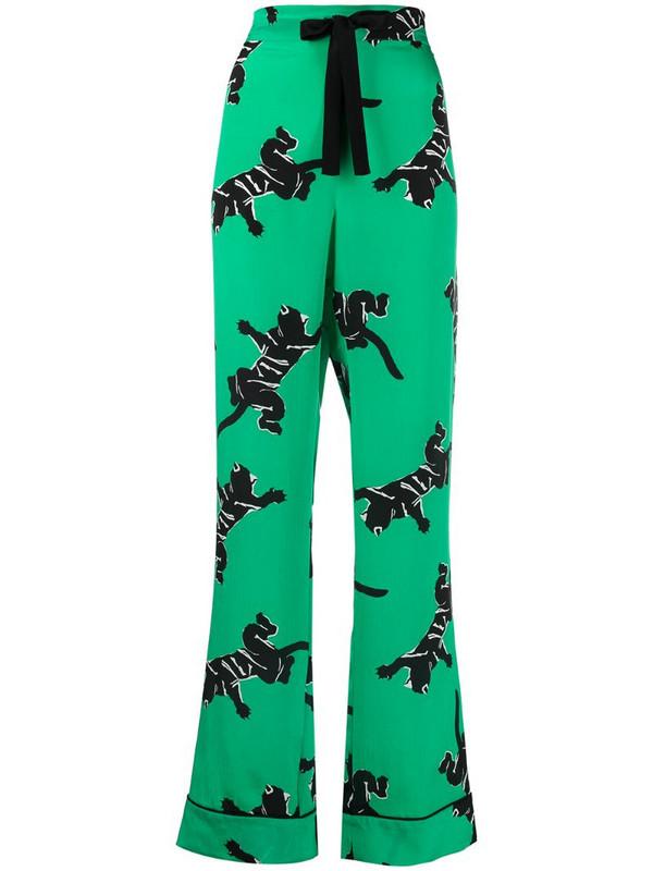 DVF Diane von Furstenberg high-rise graphic-print straight-leg trousers in green