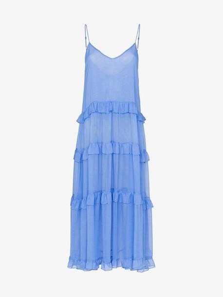 Les Reveries V-neck ruffle silk dress in blue