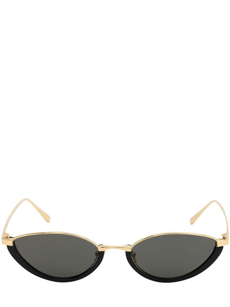 LINDA FARROW Daisy Oval Sunglasses in black / gold