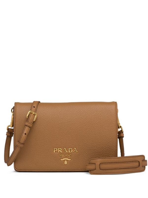 Prada logo-embellished shoulder bag in brown