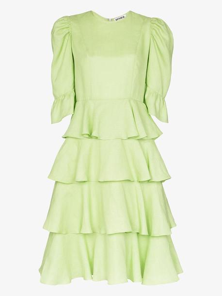 Batsheva sprint layer tiered ruffle midi dress in green