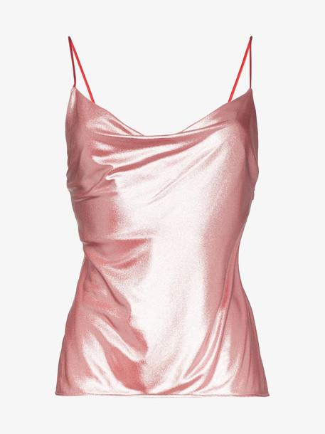 Galvan Mars cowl neck top in pink