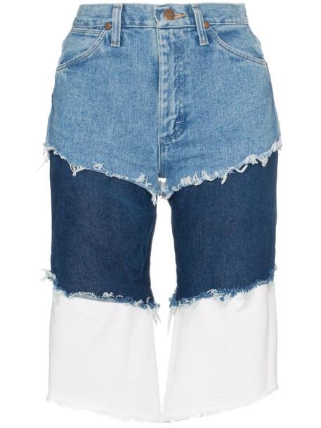 Natasha Zinko Wrangler high waisted layered denim shorts in blue