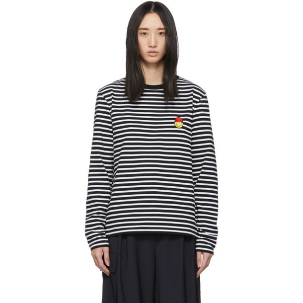 AMI Alexandre Mattiussi Black and White Smiley Long Sleeve T-Shirt