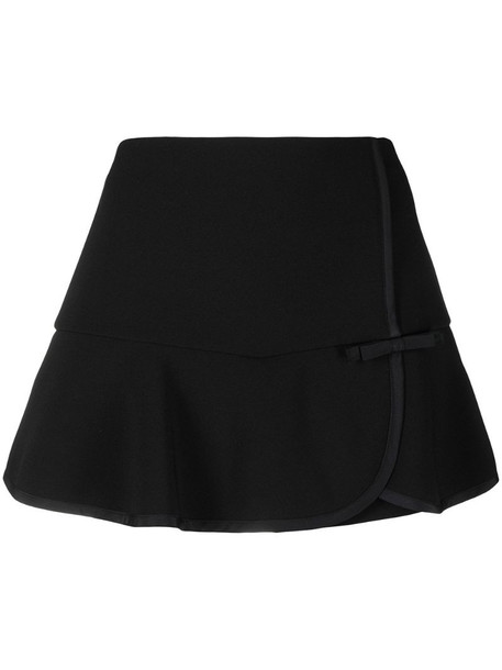 RED Valentino bow-detail flare-hem skort in black