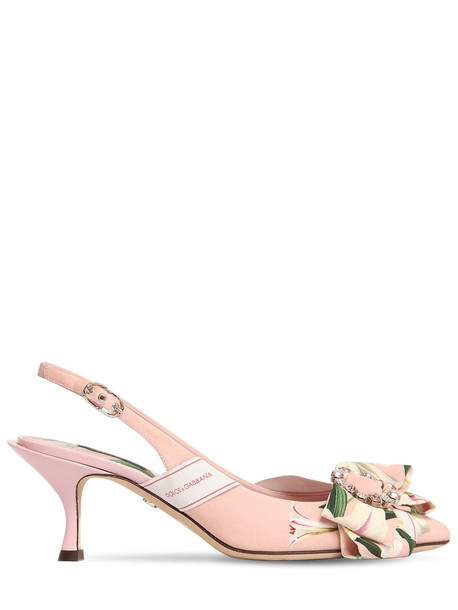 DOLCE & GABBANA 60mm Lory Flower Cady Sling Back Sandals in pink
