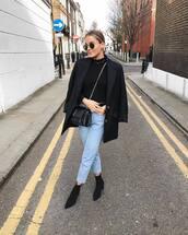 jacket,black blazer,h&m,ankle boots,brown boots,black boots,high waisted jeans,cropped jeans,black bag,ysl bag,black turtleneck top