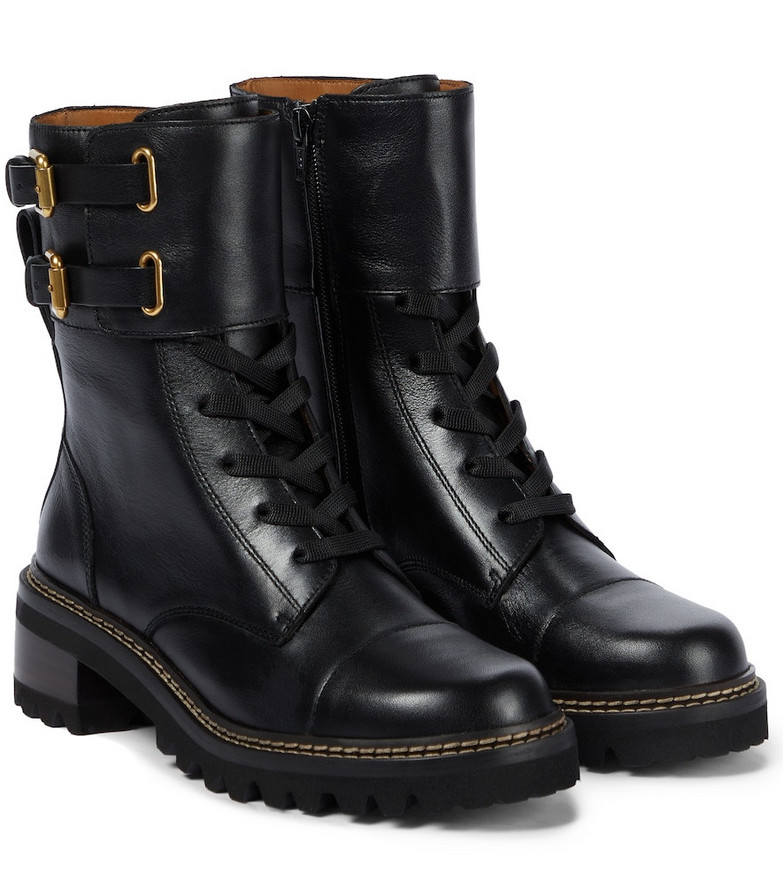 See By Chloé Mallory leather ankle boots in black