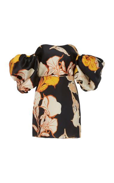 Johanna Ortiz Cosmic Origin Puff Sleeve Silk Mini Dress in black