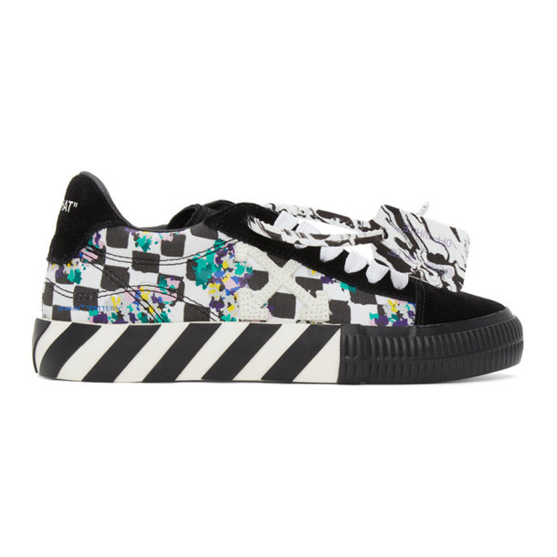 Off-White Black and White Check Vulcanized Sneakers
