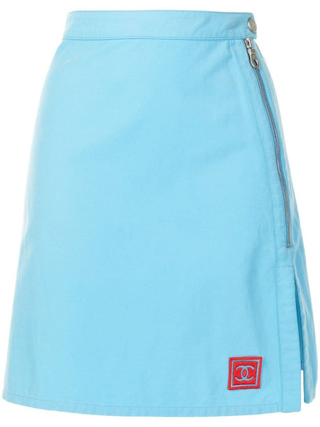 Chanel Pre-Owned 2002 Sports side slits A-line skirt in blue