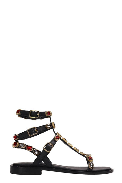 Ash Passion Black Calf Leather Flat Sandals