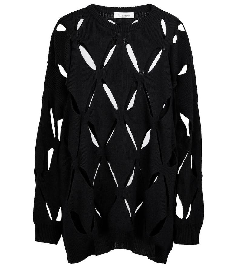 Valentino Cutout wool sweater in black