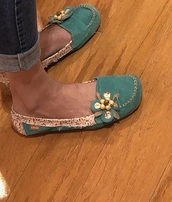 shoes,turquoise loafers flower
