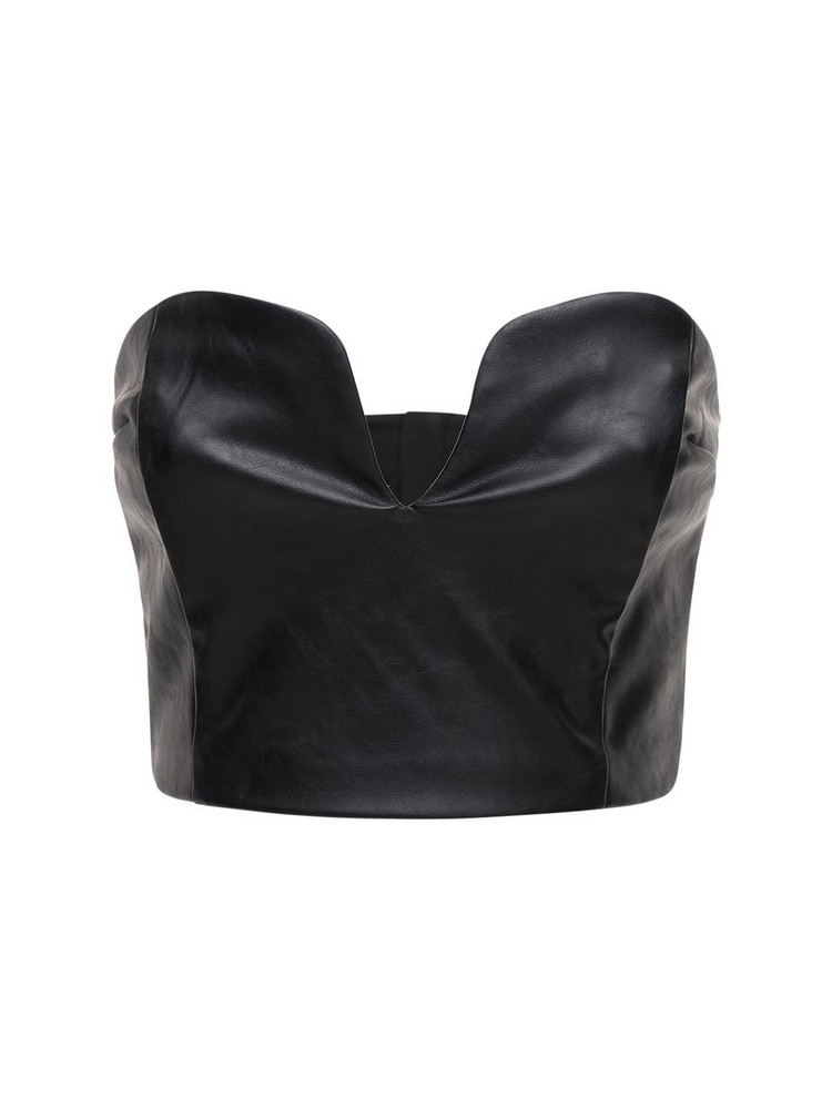 DESIGNERS REMIX Marie Faux Leather Corset Top in black