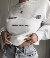 sweater,handle with care,white,crewneck