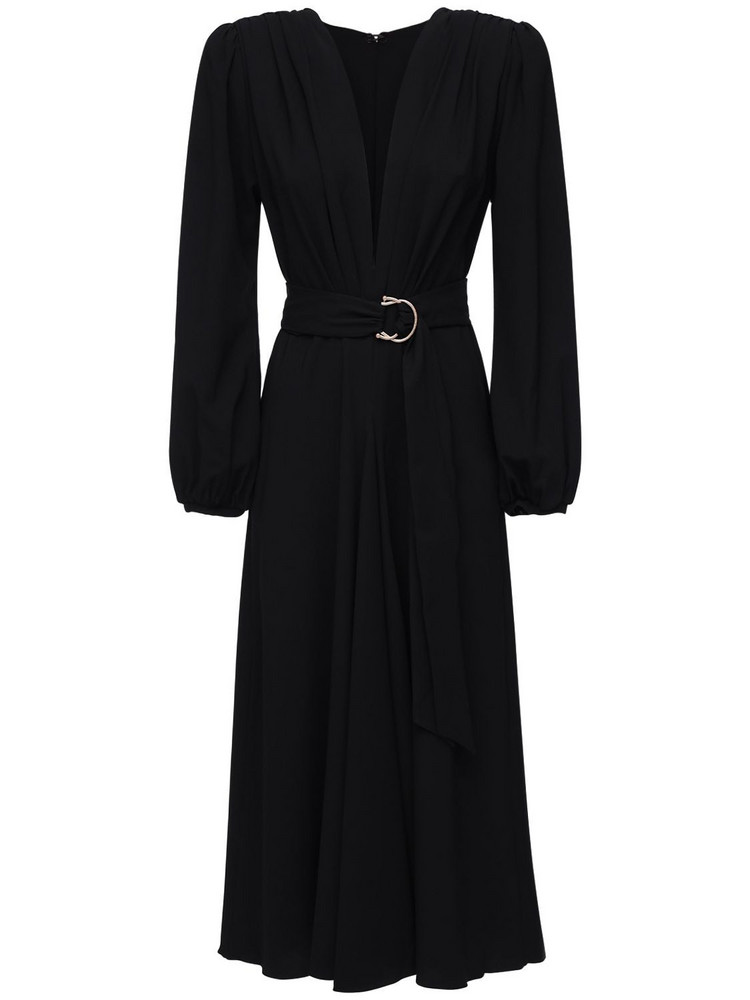 MARIA LUCIA HOHAN Rury Wrap Crepe Midi Dress in black