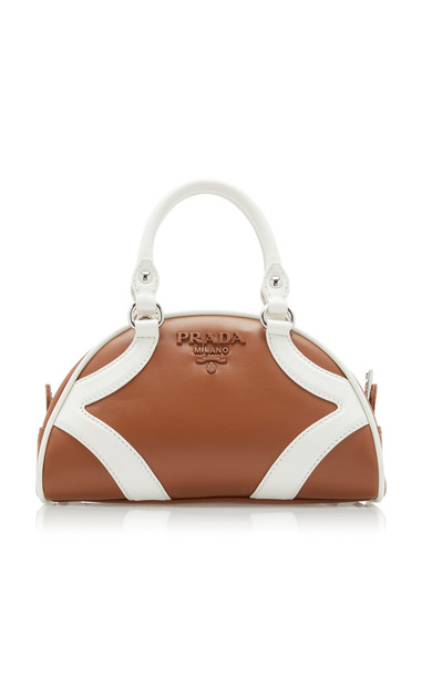 Prada Bi-Color Leather Top Handle Bag in brown