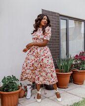 top,floral top,midi skirt,floral skirt,platform shoes