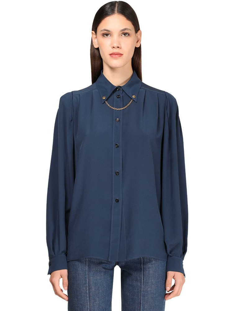 GIVENCHY Silk Crepe Shirt W/ Chain in blue