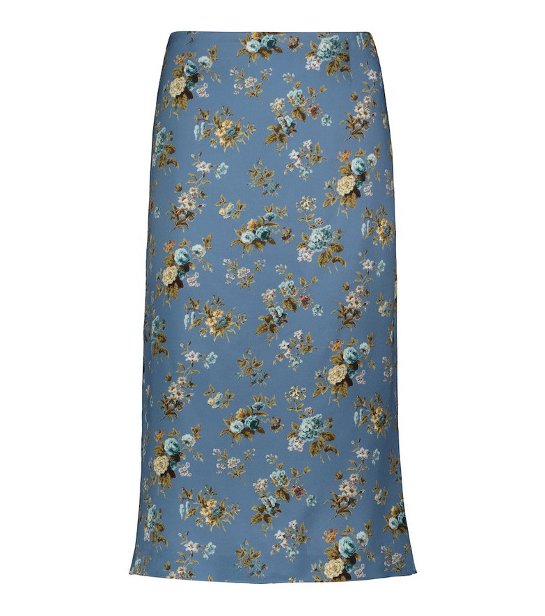Brock Collection Tate floral midi skirt in blue
