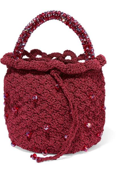 Suryo - Bucket Of Rubies Beaded Crocheted Tote - Burgundy