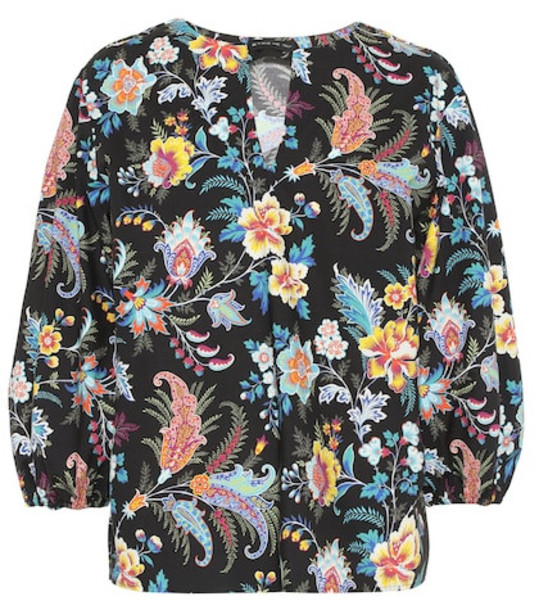 Etro Printed cotton blouse in black