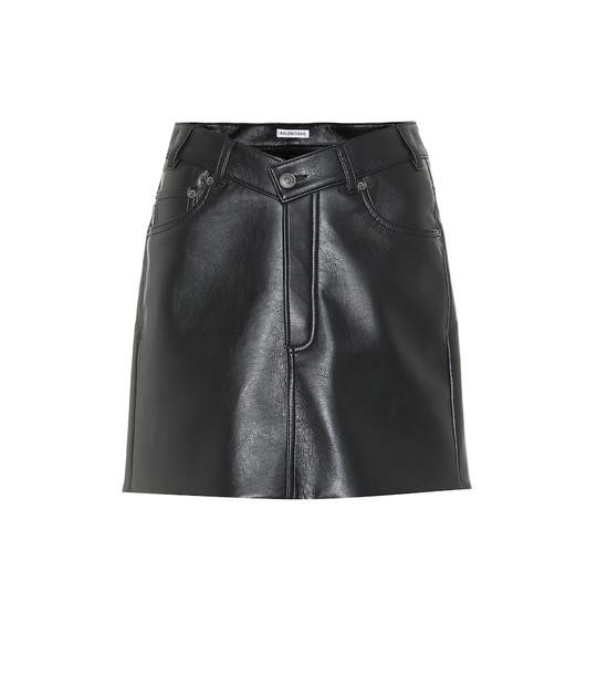 Balenciaga Faux leather miniskirt in black