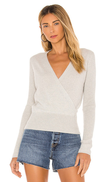 White + Warren White + Warren Cashmere Ribbed Sleeve Wrap Sweater in Grey