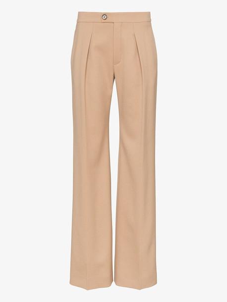 Chloé Chloé pleated virgin wool blend trousers in neutrals