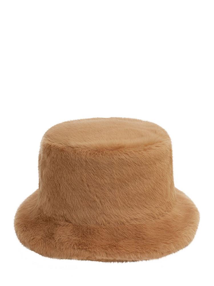 RUSLAN BAGINSKIY Faux Fur Bucket Hat in beige