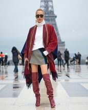 shoes,over the knee boots,red boots,heel boots,mini skirt,scarf,poncho,loewe,white turtleneck top,turtleneck sweater,grey skirt