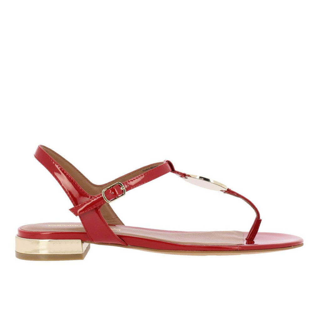 Emporio Armani Flat Sandals Shoes Women Emporio Armani in red