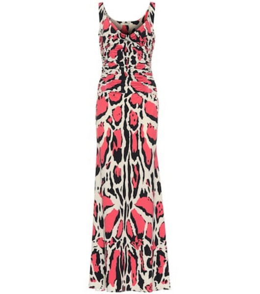 Roberto Cavalli Leopard-printed jersey maxi dress in pink